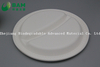 Fully Biodegradable Dividing 2 Compartment Compostable Sugarcane Plant Fiber Bakery Takeaway Food Package Round Plate for Dessert Cake