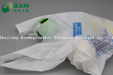 Sustainable Disposable Plastic Packaging Carrier Biodegradable Recycled Eco-Friendly Supermarket Shopping Vegetables Fruit T-Shirt Custom Color Handle Bag